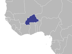 Carte de la région : Burkina Faso